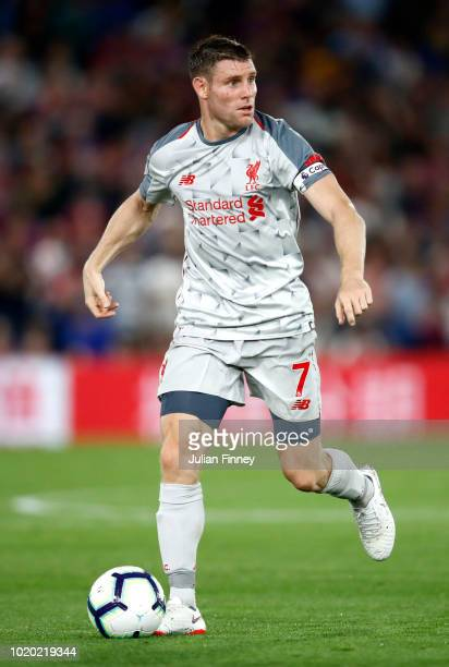 James Milner of Liverpool in action during the Premier League match between Crystal Palace and Liverpool FC at Selhurst Park on August 20 2018 in...