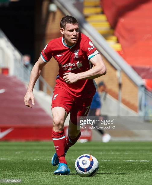 James Milner of Liverpool in action during the Premier League match between Liverpool and Newcastle United at Anfield on April 24, 2021 in Liverpool,...
