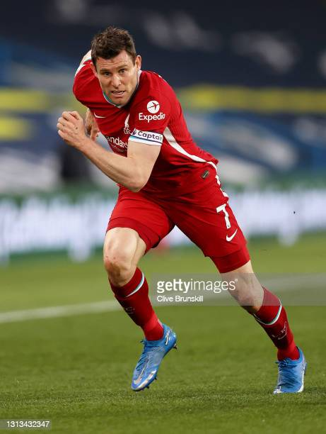 James Milner of Liverpool in action during the Premier League match between Leeds United and Liverpool at Elland Road on April 19, 2021 in Leeds,...