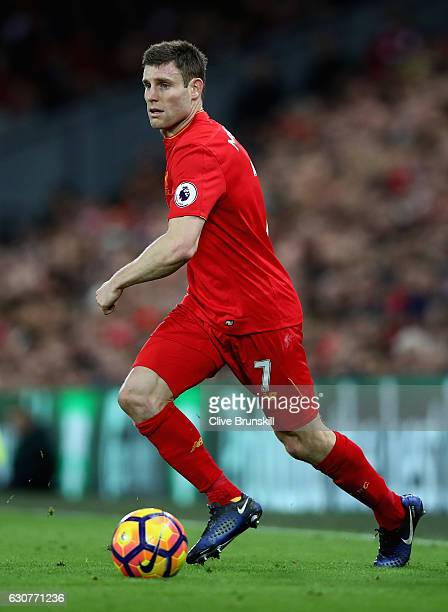 James Milner of Liverpool in action during the Premier League match between Liverpool and Manchester City at Anfield on December 31 2016 in Liverpool...