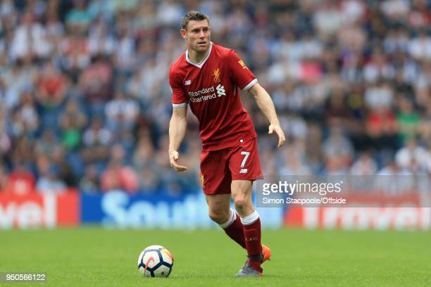 James Milner of Liverpool in action during the Premier League match between West Bromwich Albion and Liverpool at The Hawthorns on April 21 2018 in...