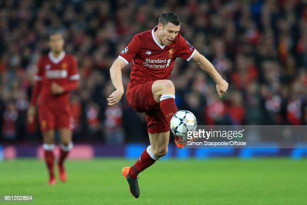 James Milner of Liverpool in action during the UEFA Champions League Semi Final First Leg match between Liverpool and AS Roma at Anfield on April 24...