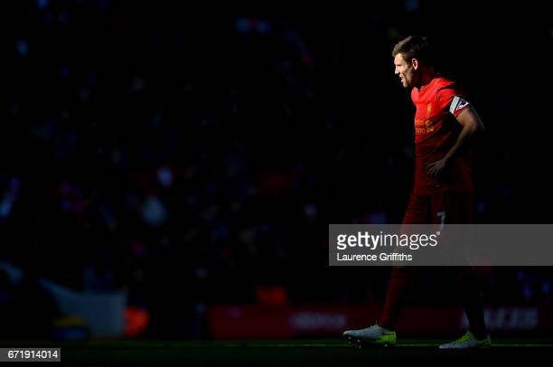 James Milner of Liverpool is seen during the Premier League match between Liverpool and Crystal Palace at Anfield on April 23 2017 in Liverpool...