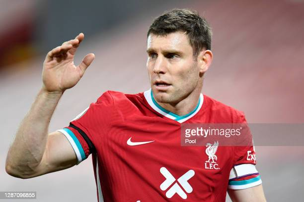 James Milner of Liverpool looks on during the Premier League match between Liverpool and Leicester City at Anfield on November 22, 2020 in Liverpool,...