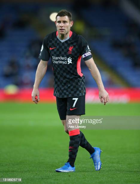 James Milner of Liverpool looks on during the Premier League match between Burnley and Liverpool at Turf Moor on May 19, 2021 in Burnley, England. A...