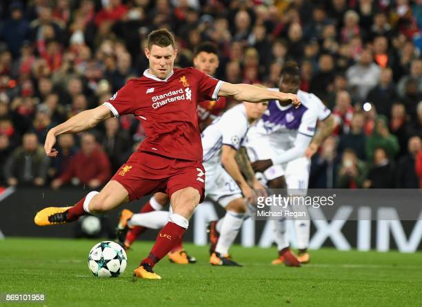 James Milner of Liverpool misses a penalty during the UEFA Champions League group E match between Liverpool FC and NK Maribor at Anfield on November...