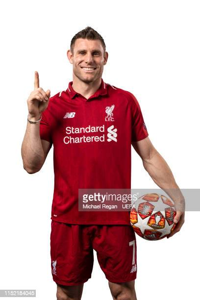 James Milner of Liverpool poses for a photo during the Liverpool FC UEFA Champions League Final Preview Portrait Shoot at Melwood Training Ground on...