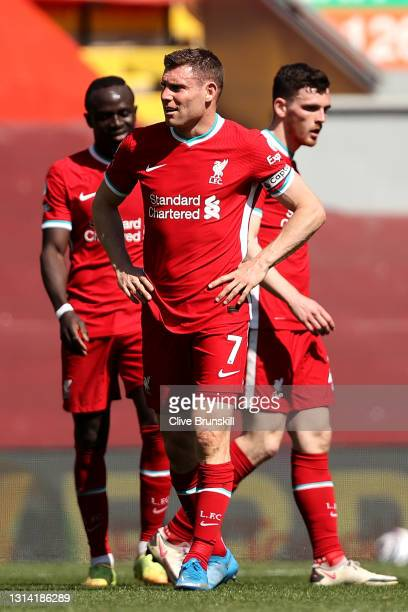 James Milner of Liverpool reacts after the Premier League match between Liverpool and Newcastle United at Anfield on April 24, 2021 in Liverpool,...