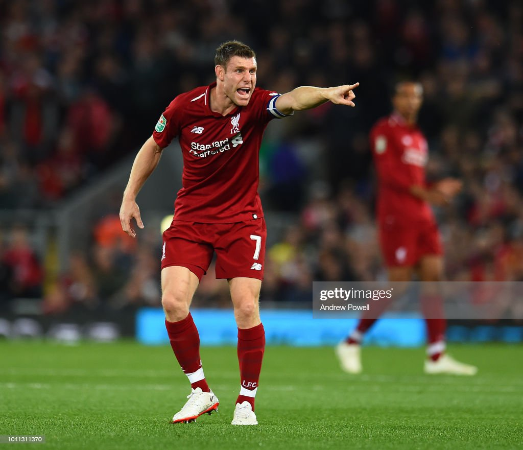 Liverpool Vs Chelsea: James Milner Of Liverpool Reacts During The Carabao Cup