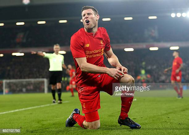 James Milner of Liverpool reacts during the EFL Cup SemiFinal Second Leg match between Liverpool and Southampton at Anfield on January 25 2017 in...