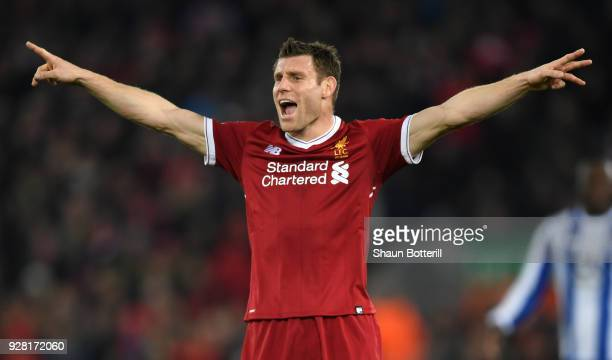 James Milner of Liverpool reacts during the UEFA Champions League Round of 16 Second Leg match between Liverpool and FC Porto at Anfield on March 6...