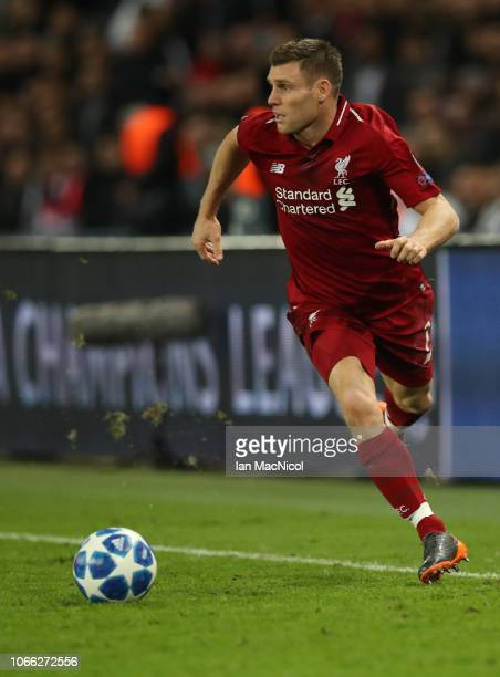 James Milner of Liverpool runs with the ball during the Group C match of the UEFA Champions League between Paris SaintGermain and Liverpool at Parc...