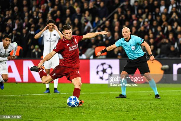 James Milner of Liverpool scores a goal during the UEFA Champions League Group C match between Paris Saint Germain and Liverpool on November 28, 2018...