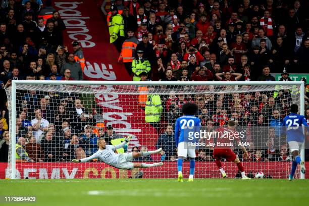 James Milner of Liverpool scores a goal to make it 21 during the Premier League match between Liverpool FC and Leicester City at Anfield on October 5...