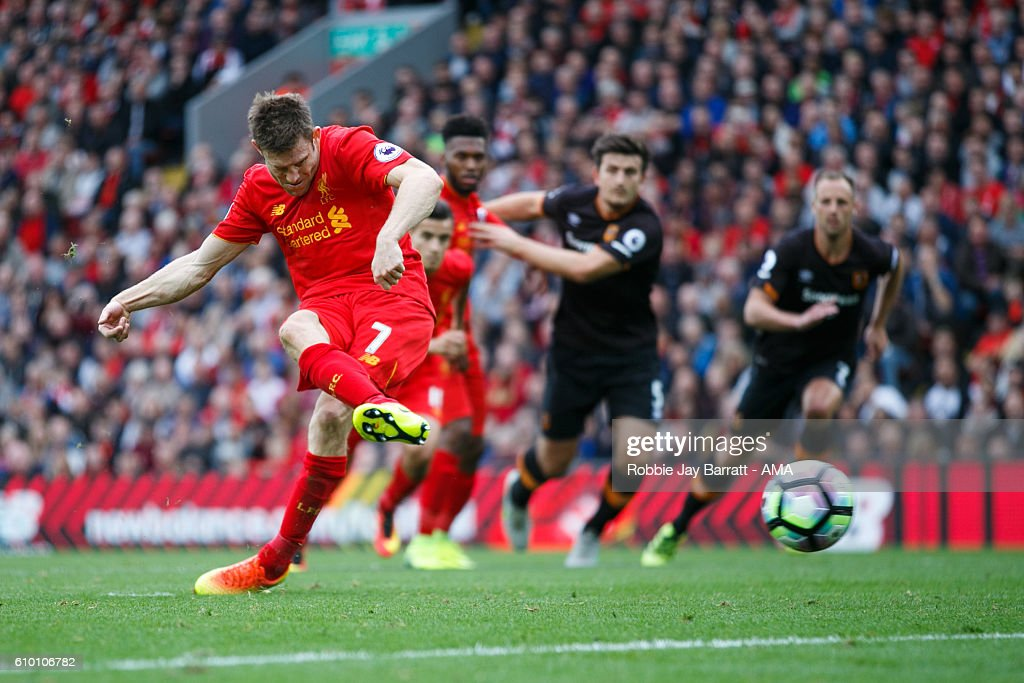 James Milner of Liverpool scores a goal to make it 5-1 during the Premier League match between Liverpool and Hull City at Anfield on September 24, 2016 in Liverpool, England.