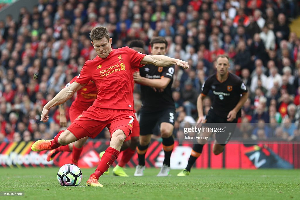 James Milner of Liverpool scores his sides fifth goal during the Premier League match between Liverpool and Hull City at Anfield on September 24, 2016 in Liverpool, England.