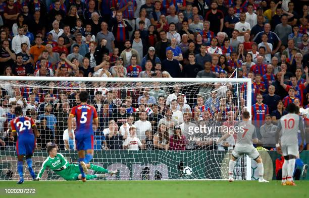 James Milner of Liverpool scores his sides first goal during the Premier League match between Crystal Palace and Liverpool FC at Selhurst Park on...