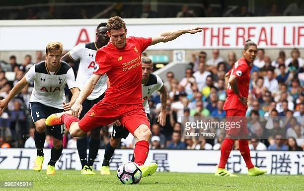 James Milner of Liverpool scores his sides first goal during the Premier League match between Tottenham Hotspur and Liverpool at White Hart Lane on...