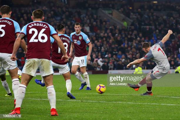 James Milner of Liverpool scores his team's first goal during the Premier League match between Burnley FC and Liverpool FC at Turf Moor on December...
