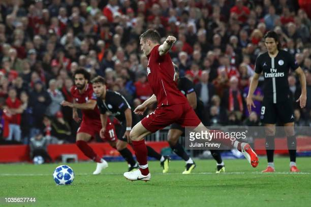 James Milner of Liverpool scores his team's second goal during the Group C match of the UEFA Champions League between Liverpool and Paris...