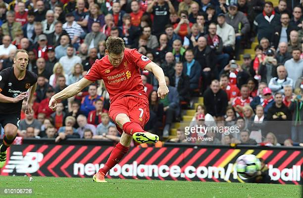 james Milner of Liverpool scores the fifth goal during the Premier League match between Liverpool and Hull City at Anfield on September 24 2016 in...