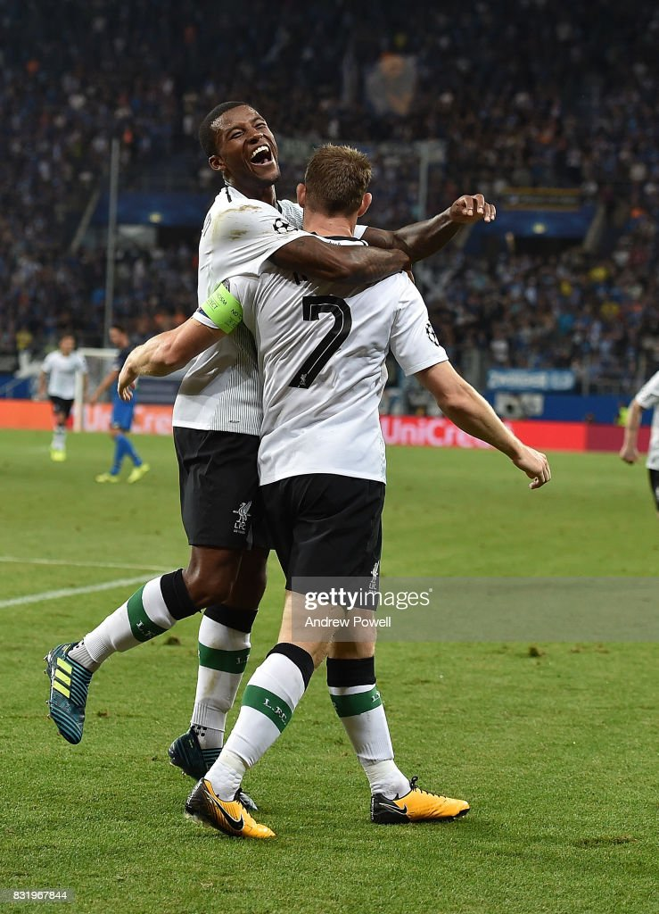 James Milner of Liverpool scores the second and celebrates during the UEFA Champions League Qualifying Play-Offs Round First Leg match between 1899 Hoffenheim and Liverpool FC at Wirsol Rhein-Neckar-Arena on August 15, 2017 in Sinsheim, Germany.