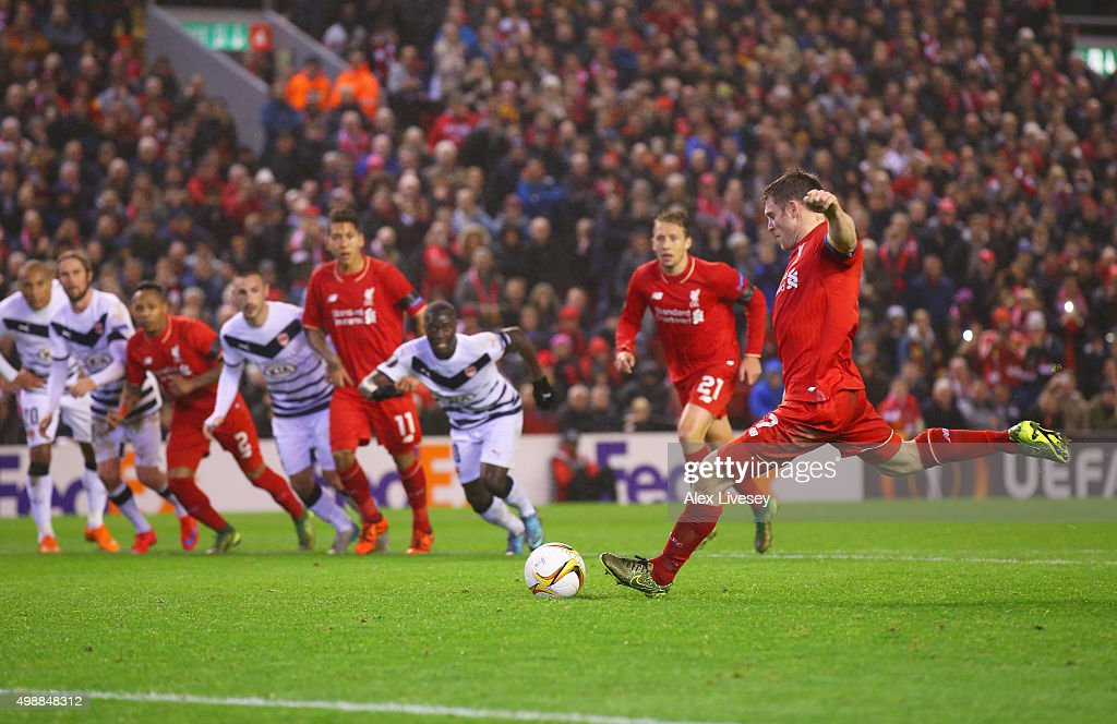 James Milner of Liverpool scores their first and equalising goal from the penalty spot during the UEFA Europa League Group B match between Liverpool FC and FC Girondins de Bordeaux at Anfield on November 26, 2015 in Liverpool, United Kingdom.