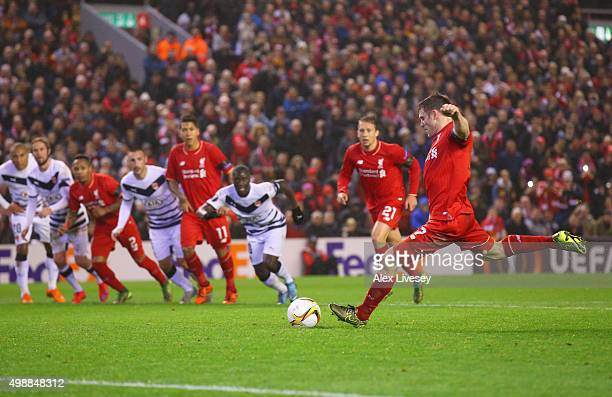 James Milner of Liverpool scores their first and equalising goal from the penalty spot during the UEFA Europa League Group B match between Liverpool...