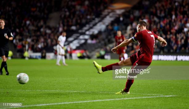 James Milner of Liverpool scoring the opening goal during the Carabao Cup Third Round match between Milton Keynes Dons and Liverpool FC at Stadium mk...