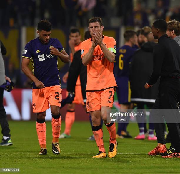 James Milner of Liverpool shows his appreciation to the fans at the end of the UEFA Champions League group E match between NK Maribor and Liverpool...