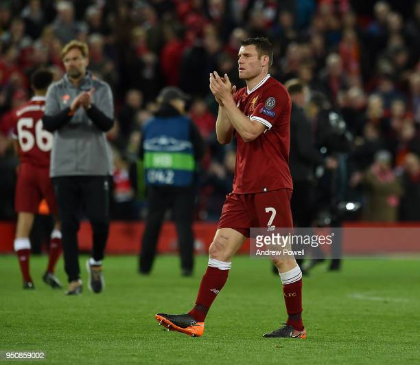 James Milner of Liverpool shows his appreciation to the fans at the end of the UEFA Champions League Semi Final First Leg match between Liverpool and...