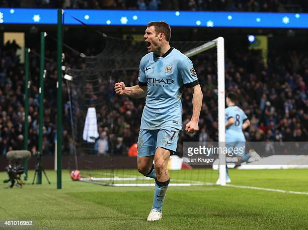James Milner of Manchester City celebrates after scoring a goal to level the scores at 1-1 during the FA Cup Third Round match between Manchester...