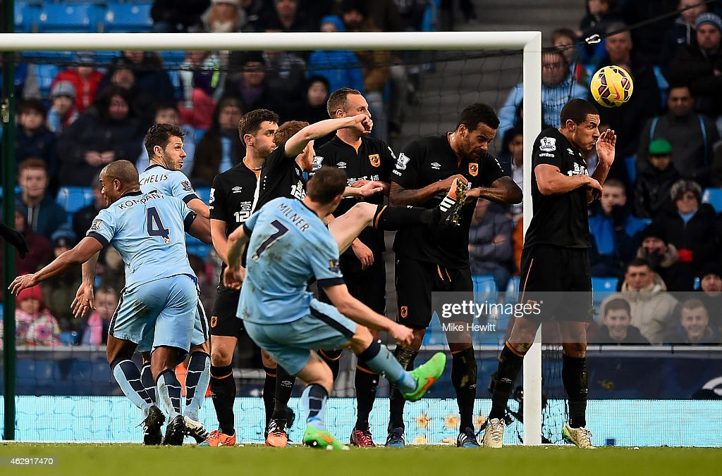 James Milner of Manchester City scores the equalising goal during the Barclays Premier League match between Manchester City and Hull City at the Etihad Stadium on February 7, 2015 in Manchester, England.