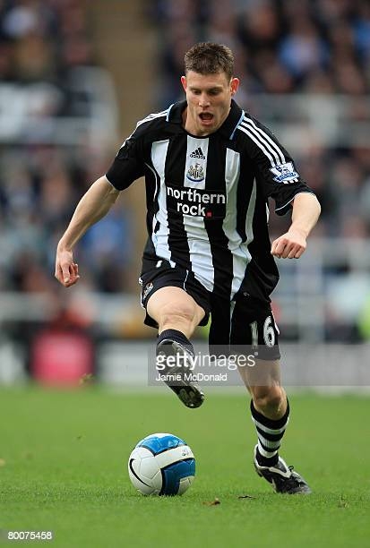 James Milner of Newcastle in action during the Barclays Premier League match between Newcastle United and Blackburn Rovers at St James' Park on March...