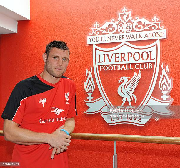 James Milner poses for a portrait as he signs for Liverpool Football Club at Melwood Training Ground on July 6 2015 in Liverpool England