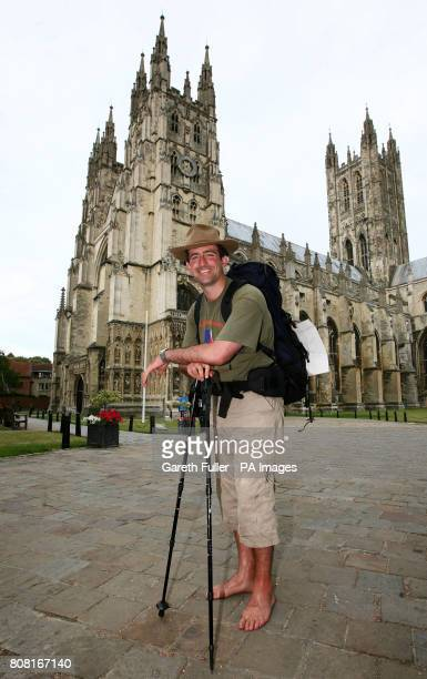 James Milton a former Army captain after completing a 130mile barefoot charity walk from Winchester cathedral to Canterbury cathedral following the...