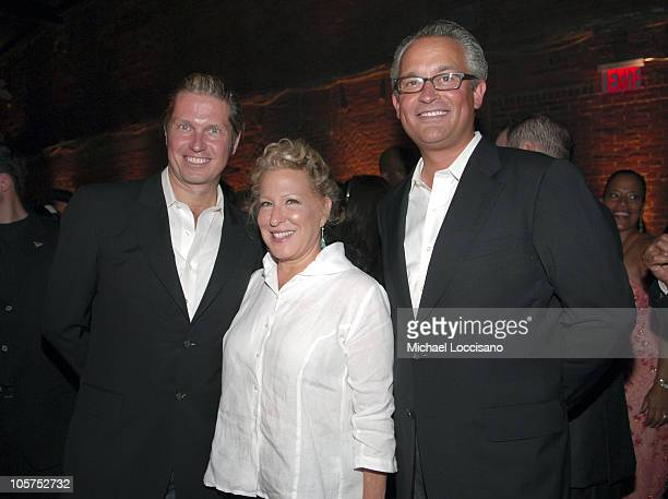 James Mischka, Bette Midler and Mark Badgley during Olympus Fashion Week Spring 2006 - Badgley Mischka - Front Row and Backstage at 261 11th Ave. In...