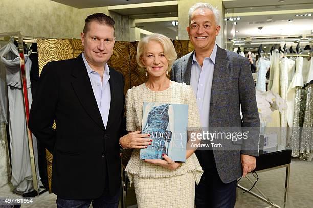 James Mischka Helen Mirren and Mark Badgley attend Badgley Mischka American Glamour book celebration at Bergdorf Goodman on November 18 2015 in New...