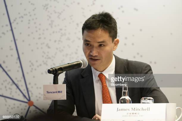 James Mitchell chief strategy officer of Tencent Holdings Ltd speaks during a news conference in Hong Kong China on Wednesday March 21 2018 Tencent...