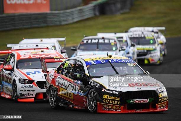 James Moffat drives the Supercheap Auto Racing Ford Falcon FGX during qualifying race for grid 1 for the Supercars Sandown 500 at Sandown...
