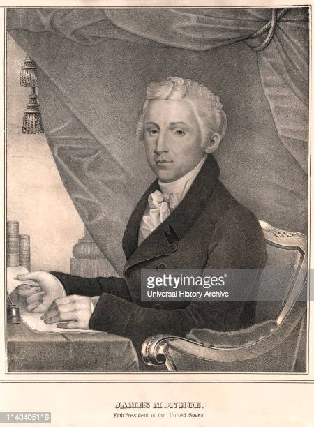 James Monroe 5th President of the United States HalfLength Seated Portrait Lithograph DW Kellogg Co 1830's