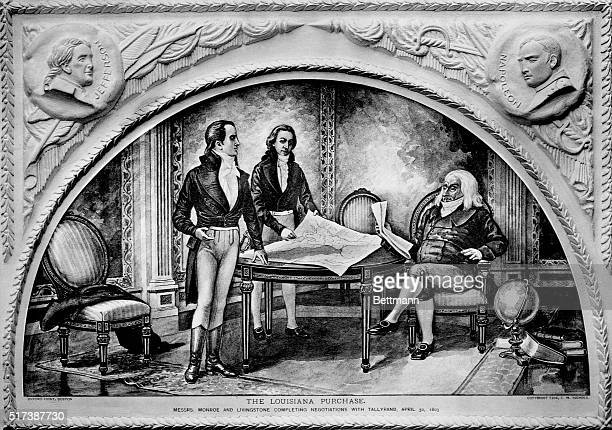 James Monroe and Robert R Livingston representing the United States finish discussion of the Louisiana Purchase with France's Minister Talleyrand The...