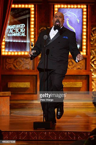 James Monroe Iglehart accepts the award for Best Performance by an Actor in a Featured Role in a Musical for Aladdin onstage during the 68th Annual...