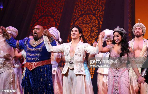 James Monroe Iglehart Adam Jacobs Courtney Reed during the Broadway Opening Night Performance Curtain Call for Disney's 'Aladdin' at the New...