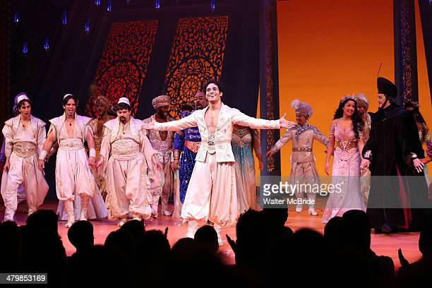 James Monroe Iglehart Adam Jacobs Courtney Reed Jonathan Freeman and cast during the Broadway Opening Night Performance Curtain Call for Disney's...