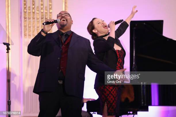 James Monroe Iglehart and Ashley Brown perform onstage during the NYC Company Foundation Visionaries Voices Gala 2018 at The Plaza on November 28...