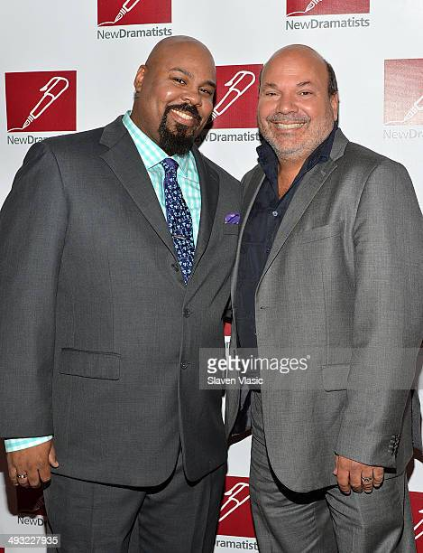 James Monroe Iglehart and Casey Nicholaw attend New Dramatists 65th Annual Spring luncheon at The New York Marriott Marquis on May 22 2014 in New...