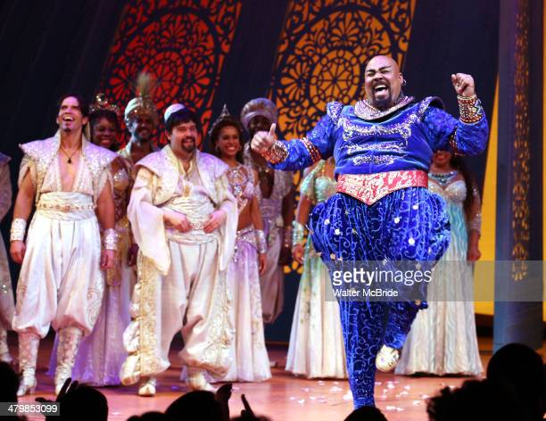 James Monroe Iglehart and cast during the Broadway Opening Night Performance Curtain Call for Disney's 'Aladdin' at the New Amsterdam Theatre on...