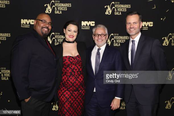 James Monroe Iglehart Ashley Brown Charlie Flateman and Fred Dixon attend the NYC Company Foundation Visionaries Voices Gala 2018 at The Plaza on...