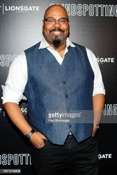 James Monroe Iglehart attends as Lionsgate with the Cinema Society host a screening of Blindspotting at Angelika Film Center on July 16 2018 in New...